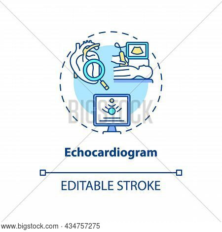 Echocardiogram Concept Icon. Hypertension Test Abstract Idea Thin Line Illustration. Recording Heart