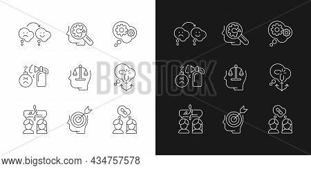 Critical Mindset And Attitude Linear Icons Set For Dark And Light Mode. Rationality And Critical Thi