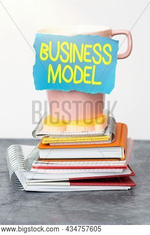 Text Sign Showing Business Model. Word For Identifying Revenue Sources Plan On How To Make Profit Or