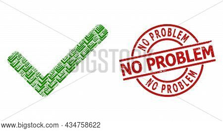 Red Round Stamp Seal Contains No Problem Text Inside Circle. Vector Accept Tick Mosaic Is Composed O