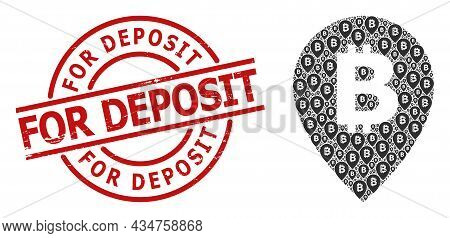 Red Round Seal Has For Deposit Caption Inside Circle. Vector Bitcoin Map Pointer Mosaic Is Construct
