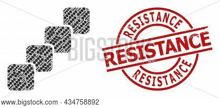Red Round Stamp Seal Has Resistance Title Inside Circle. Vector Blockchain Mosaic Is Organized With