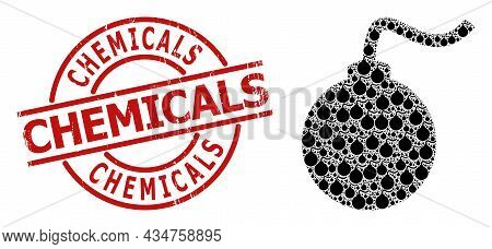 Red Round Badge Includes Chemicals Caption Inside Circle. Vector Bomb Fractal Is Constructed Of Rand