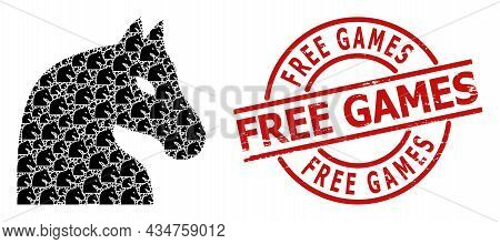 Red Round Stamp Seal Contains Free Games Text Inside Circle. Vector Chess Horse Fractal Is Designed
