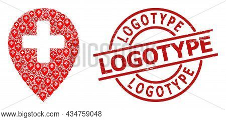 Red Round Stamp Seal Has Logotype Caption Inside Circle. Vector Clinic Map Pointer Composition Is Co