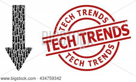 Red Round Seal Has Tech Trends Caption Inside Circle. Vector Down Arrow Composition Is Created From