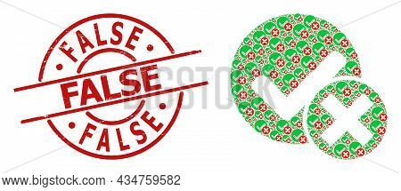 Red Round Stamp Seal Includes False Text Inside Circle. Vector False Positive Collage Is Organized W