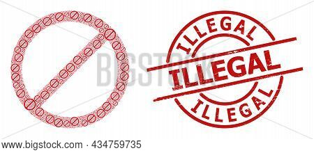 Red Round Seal Contains Illegal Text Inside Circle. Vector Forbid Mosaic Is Composed Of Randomized I