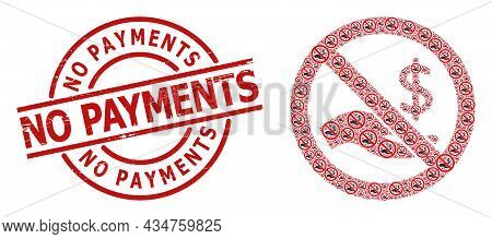 Red Round Stamp Seal Contains No Payments Title Inside Circle. Vector Forbid Dollar Payment Fractal