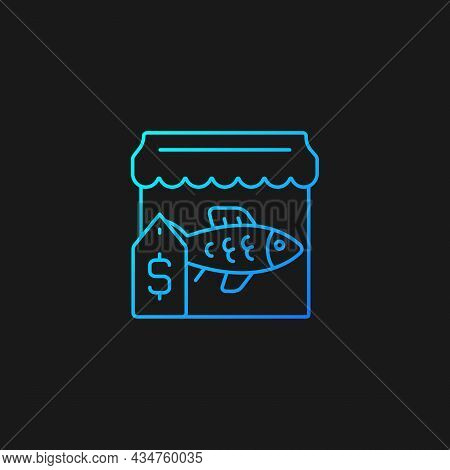 Fish Market Gradient Vector Icon For Dark Theme. Fresh And Frozen Seafood Trade. Fish Marketplace. F