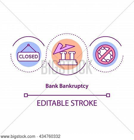 Bank Bankruptcy Concept Icon. Economic Crisis. Business Recession. Company Liquidation Process Abstr
