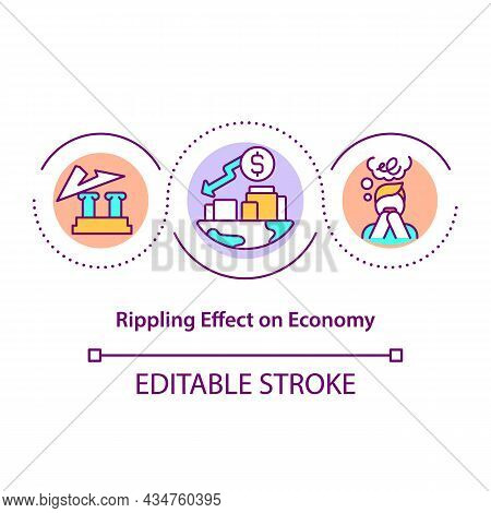 Rippling Effect On Economy Concept Icon. Domino Effect In Economical Processes. Business Recession A