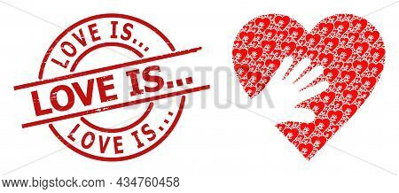Red Round Stamp Includes Love Is... Text Inside Circle. Vector Hand Touch Heart Composition Is Compo