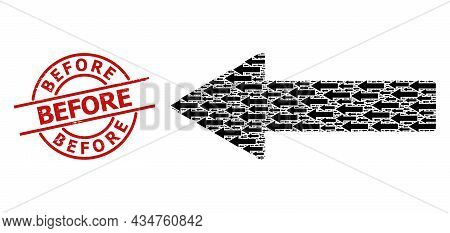Red Round Stamp Seal Has Before Caption Inside Circle. Vector Left Arrow Collage Is Made Of Repeatin