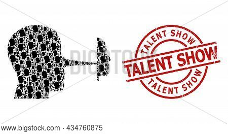 Red Round Stamp Seal Has Talent Show Caption Inside Circle. Vector Liar Mask Collage Is Designed Fro