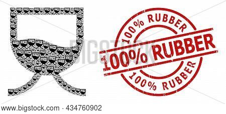 Red Round Seal Contains 100 Percent Rubber Tag Inside Circle. Vector Liquid Tank Collage Is Made Fro