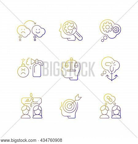 Critical Mindset And Attitude Linear Vector Icons Set. Rational Thinking. Emotional Intelligence. Un
