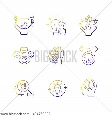 Self Development Skills Linear Vector Icons Set. Self Monitoring And Correction. Critical Thinking S
