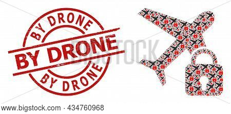 Red Round Stamp Seal Has By Drone Caption Inside Circle. Vector Locked Airplane Mosaic Is Organized
