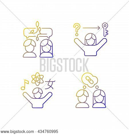 Communication Skills Linear Vector Icons Set. Problem Solving Skills. Inquisitiveness. Understand An
