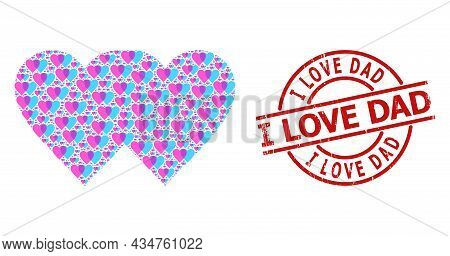 Red Round Stamp Seal Contains I Love Dad Title Inside Circle. Vector Lovely Hearts Fractal Is Compos