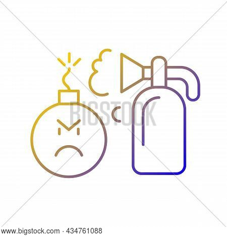 Extinguishing Emotions Gradient Linear Vector Icon. Suppressing Feelings That You Experience. Critic