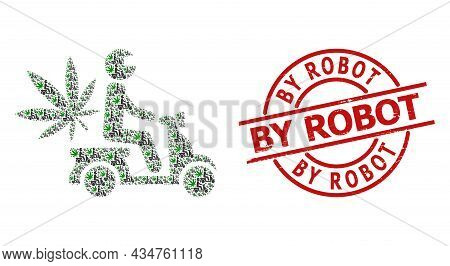 Red Round Seal Has By Robot Text Inside Circle. Vector Marijuana Motorbike Delivery Collage Is Forme