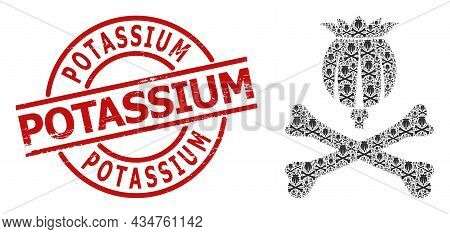 Red Round Badge Contains Potassium Tag Inside Circle. Vector Mortal Opium Fractal Is Done From Rando