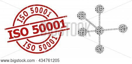 Red Round Badge Includes Iso 50001 Caption Inside Circle. Vector Node Connections Fractal Is Compose