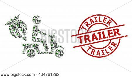 Red Round Stamp Seal Contains Trailer Text Inside Circle. Vector Opium Motorbike Delivery Fractal Is