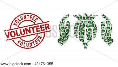 Red Round Stamp Seal Includes Volunteer Text Inside Circle. Vector Poppy Care Hands Collage Is Const