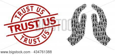 Red Round Stamp Has Trust Us Tag Inside Circle. Vector Pray Hands Mosaic Is Designed With Scattered