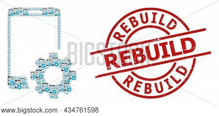 Red Round Stamp Seal Includes Rebuild Text Inside Circle. Vector Smartphone Settings Mosaic Is Compo