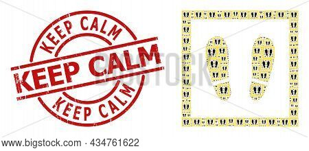 Red Round Badge Includes Keep Calm Caption Inside Circle. Vector Stay Here Collage Is Formed Of Scat