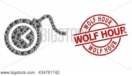 Red Round Stamp Seal Includes Wolf Hour Tag Inside Circle. Vector Time Bomb Composition Is Organized