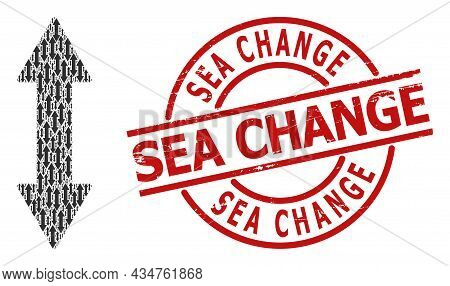 Red Round Stamp Seal Contains Sea Change Title Inside Circle. Vector Vertical Exchange Arrow Fractal