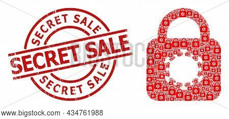 Red Round Badge Contains Secret Sale Title Inside Circle. Vector Virus Lock Fractal Is Created Of Ra