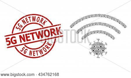 Red Round Badge Has 5g Network Title Inside Circle. Vector Virus Source Composition Is Made From Ran