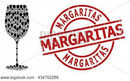 Red Round Stamp Seal Includes Margaritas Title Inside Circle. Vector Wine Glass Collage Is Designed