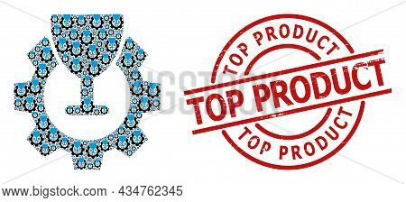 Red Round Badge Contains Top Product Text Inside Circle. Vector Wine Industry Fractal Is Composed Of