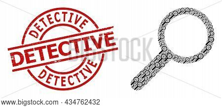 Red Round Badge Contains Detective Tag Inside Circle. Vector Zoom Collage Is Formed From Scattered R