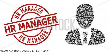 Red Round Stamp Includes Hr Manager Tag Inside Circle. Vector Manager Collage Is Formed From Random