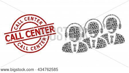 Red Round Badge Contains Call Center Title Inside Circle. Vector Call Center Staff Composition Is De