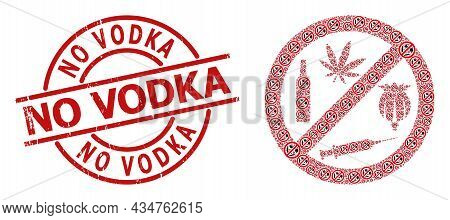 Red Round Stamp Seal Has No Vodka Text Inside Circle. Vector Forbid Addiction Drugs Composition Is D