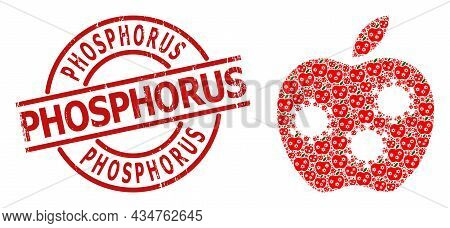 Red Round Badge Contains Phosphorus Title Inside Circle. Vector Infected Apple Mosaic Is Constructed