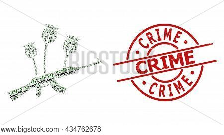 Red Round Stamp Has Crime Text Inside Circle. Vector Opium Poppy Crime Mosaic Is Composed With Rando