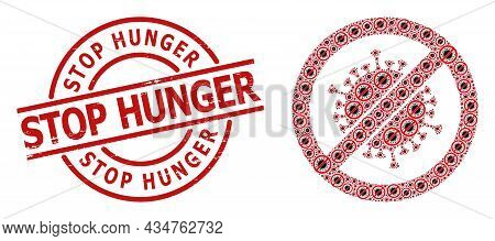 Red Round Stamp Seal Has Stop Hunger Tag Inside Circle. Vector Stop Coronavirus Composition Is Forme