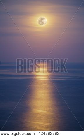 Moon light reflection on the sea water. Nature landscape.