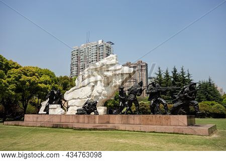 Shanghai, China - April 15, 2017: The Memorial And Sculpture Of Revolutionary Soldiers In Longhua Ga