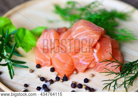 Fresh Salmon Fish For Cooking Salad Seafood Japanese Food, Wasabi Sauce Raw Salmon Filet On Wooden